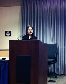 Shu Yang speaking at October 17 meeting