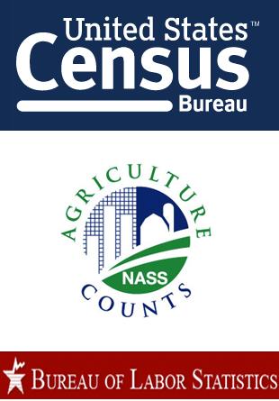 US Census Bureau, National Agricultural Statistics Service and Bureau of Labor Statistics