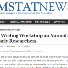 The 2020 NISS Virtual Writing Workshop for Early Researchers was featured in the October Issue of AMSTAT News.