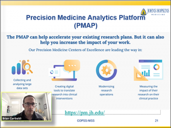 Brian Garibaldi (Johns Hopkins) provides an overview of the development of the Precision Medicine Analytics Platform.