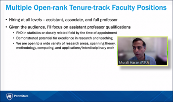 Murali Haran (Penn State) reviews open positions within his department.