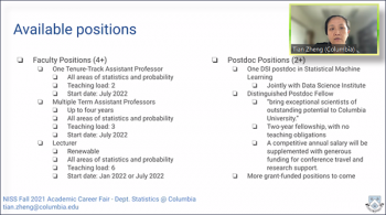 Tian Zheng (Columbia) describes the range of positions her department is looking to fill.