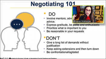 Bhramar Mukherjee (University of Michigan) shares the do's and don'ts of negotiating.