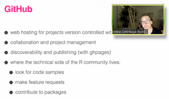 Mine Cetinkaya-Rundel, (University of Edinburgh, Duke University, RStudio) provides a list of reasons how GitHub can be used to help connect and collaborate with others.
