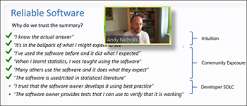 Andy Nicholls (R Validation Hub) reviews aspects related to software reliability.