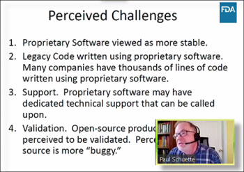 Paul Schuette (FDA-CDER) discusses the perceived challenges to using open-source software.