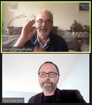 Sir David Spiegelhalter, (Cambridge University) responds to questions from moderator Rob Deardon (University of Calgary)