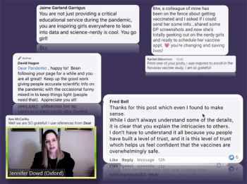Jennifer Dowd (Oxford) shares comments from the Dear Pandemic Facebook presence.