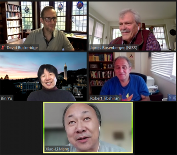 Discussion after the Late-Breaking Session: AI and Health Data Science with Bin Yu (UC, Berkeley), David Buckeridge (McGill), Rob Tibshirani (Stanford), Xiao-Li Meng (Harvard) and Session Chair Jim Rosenberger (NISS).