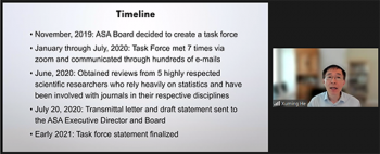 Xuming He (University of Michigan), reviews the timeline of the task force.
