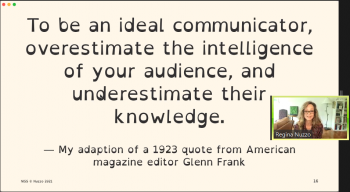 Regina Nuzzo (ASA) discusses a quote about being a good communicator.