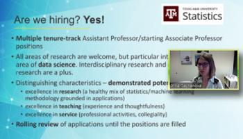 Irina Gaynanova (Texas A&M) reviews the open positions her department is seeking to fill.