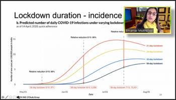 Bhramar Mukherjee (University of Michigan) discusses a display of prediction results for lockdown duration in India.