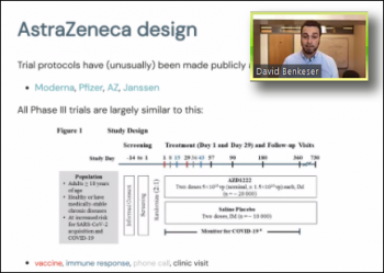David Benkeser (Emory University) reviews the AstraZeneca clinical trial protocol.
