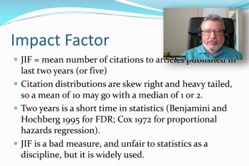 David Rocke emphasizes a point during his comments on writing in Biostatistics.