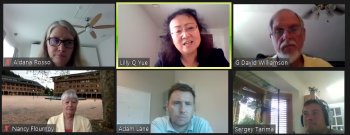 Lilly Yue (center, above) responds to a question in Zoom from Moderators Adam Lane (University of Cincinnati) (lower, center) and Sergei Tarima (Medical College of Wisconsin) (lower, right).