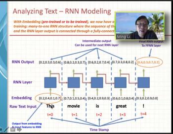 Ming Li (Amazon) walks through an example of a recurrent neural network to analyze text data.