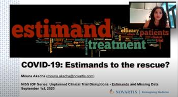 Mouna Akacha, (Novartis) begins a talk that focuses on Estimands.