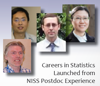 From left to right, Matthias Schonlau (NISS postdoc 1997-1999), Xingdong Feng (NISS Postdoc 2009-2011), George Luta (NISS Postdoc  2006-2009), and Yingchun (Jasmine) Zhou (NISS Postdoc 2007-2009).