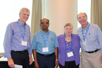 The Jerome Sacks Award being presented to Jogesh Babu by Jim Rosenberger, Director NISS (left), Mary Batcher, Chair, NISS Board of Trustees (second from right), and David Banks, Director SAMSI (right)