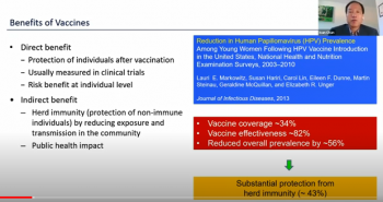 Ivan Chan (AbbVie Inc.) explains the benefits of vaccines as part of his presentation.