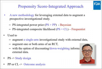 Heng Li, (FDA, NIH) discusses leveraging external data via propensity score-integrated approaches.