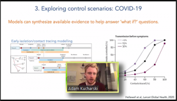 """Adam Kucharski (London School of Hygiene and Tropical Medicine) demonstrates how epidemiologic models can help answer """"What if"""" questions."""