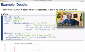 Ryan Tibshirani (Carnegie Mellon) walks through the R code for an example that plots COVID-19 deaths.
