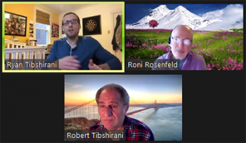 Rob Tibshirani (Stanford), below, moderates a busy Q&A portion of the webinar.