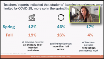 Julia Kaufman (RAND) compares Spring and Fall of 2020 in terms of teacher reports of student learning.