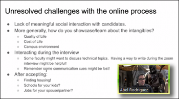 Abel Rodriguez (U of Washington) discusses some of the intangibles associated with an online hiring process.