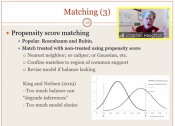 Jonathan Haughton (Suffolk University) reviews propensity scoring related to a matching technique.