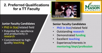 Jiayang Sun (GMU) reviews the qualifications for positions in the Department of Statistics at George Mason University.