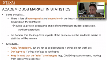Kate Calder (UT Austin) provides a general review of the academic job market in statistics.