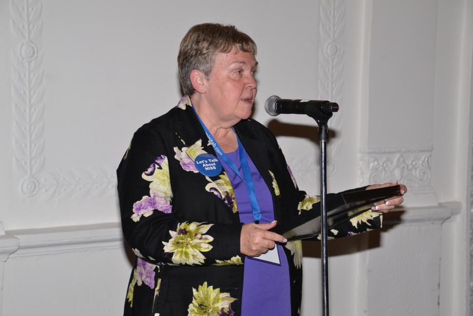 Mary Batcher, Chair of the National Institute of Statistical Sciences Board of Trustees speaks at the 2016 NISS-JSM Awards Reception  [Photo courtesy of the American Statistical Association (ASA)]