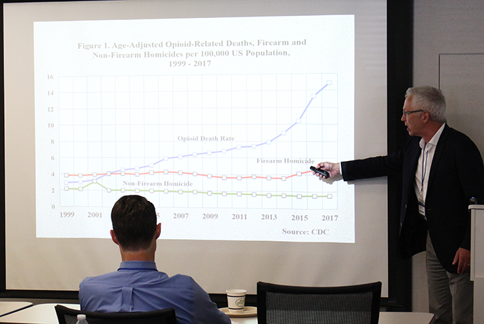 "Rick Rosenfeld, (Founders Professor, Department of Criminology and Criminal Justice, University of Missouri-St. Louis) - ​""Gun Homicides and the Impact of the Opioid Epidemic""."