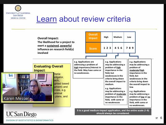Karen Messer talks about writing grants for NIH.