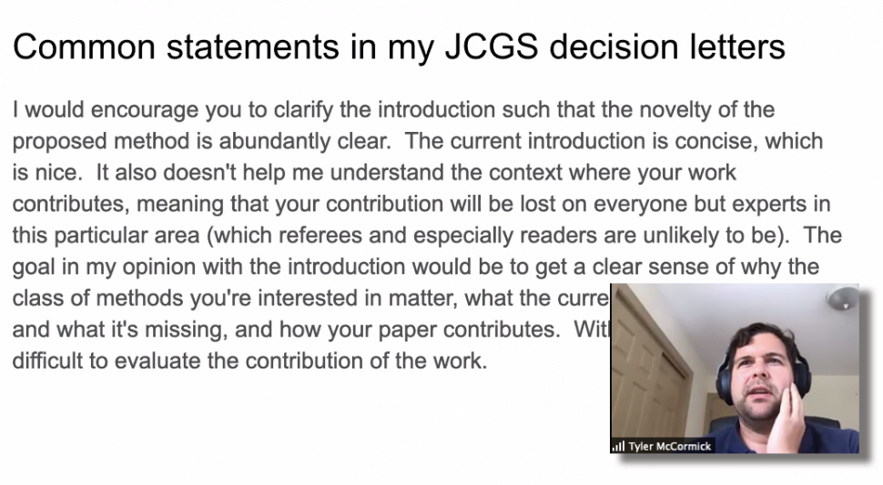 Tyler McCormick shares his thoughts about publishing in statistics journals.